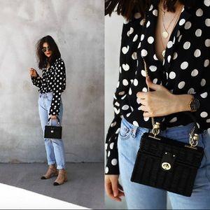 Zara Women's Black and White Polka Dot Bodysuit
